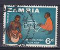 Zambia 1964 Mi. 6    6 P Nachrichtenübermittlung Durch Trommel Und Fernschreiber - Zambia (1965-...)