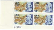 #1690 Plate # Block Of 4, 1976 13-cent Benjamin Franklin, Mint MNH 13-cent Stamps - United States