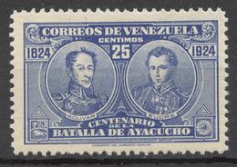 Venezuela 1924 Mi# 116** BOLIVAR AND SUCRE, CENTENARY OF THE BATTLE OF AYACUCHO - Venezuela