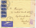 South Africa : Airmail Cover Johannesburg-> Bombay India Strip Of 5x 3p, Censor Opened - Afrique Du Sud (...-1961)