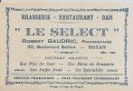 """Carte De Visite """"LE SELECT"""" Restaurant Robert BAUDRIC ROYAN - Cartes De Visite"""