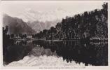 Lake Matheson, Mts. Jasman & Cook, N.Z., Older Real Photograph, No Lines On Back. - New Zealand