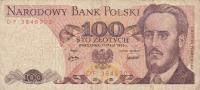 Billet  Banque POLOGNE,BANK POLSKI,POCZTA,100 STO ZLOTYCH,WARSZAWA, 17 Maja 1976,numéo DF 3848303 - Poland