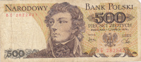 Billet  Banque POLOGNE,BANK POLSKI,POCZTA,500 PIECSET ZLOTYCH,WARSZAWA,1 Czerwca 1979,numéro B E 2822421 - Poland