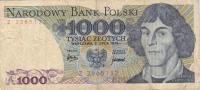 Billet  Banque POLOGNE,BANK POLSKI,1000 TYSIAC ZLOTYCH,WARZAWA 2 LYPCA 1975,numéro Z 2365132 - Pologne