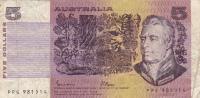 BILLET BANQUE AUSTRALIE,BANK AUSTRALIA,5  DOLLARS,FIVE,1979,numéro PPG 981514 - Australia