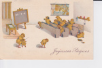 Poussins Humanisés Dans Une Salle De Classe - Pâques