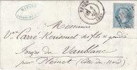 Lettre Et Timbre  N° 29 A   20 C. 1870 - 1863-1870 Napoléon III Lauré