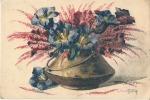 Superbe Bouquet Dans Pot De Cuivre  Par L'illustrateur HENRY Carte Postale Imprimée En Eau Forte -RARE Couleur écrite - Autres Illustrateurs
