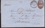 Grande Bretagne - Lettre Pour Bordeaux - Yvert Type F 1875 - Cad Rouge 21/01/1878 - Correspond. Collision Navire Tamise - Postmark Collection