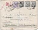 "Espagne - Enveloppe Pour La France - Yvert N° 579A + 664 + Bande X3 667 Obl. ""certificado Estafeta N°5 Barcelona 1946"" - Marcas De Censura Nacional"