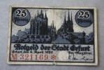 1920 ERFURT  25 PFENNING   Banknoten DEUTSCHE GERMANY ALLEMAGNE BILLET  DE BANQUE Banconota  BANK REPUBLIQUE DE  WEIMAR - [ 3] 1918-1933 : República De Weimar