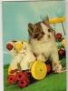 Carte Postale Musicale,Chat ,Jouet,Fleurs ,Chevaux De Bois - Cats