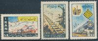 PERSIA 1957 OPENING OF THE TEHERAN-MESHED RAILWAY SC# 1074-1076 VF MNH NORMAL GUM - Iran