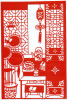 Tea Room  / Chinese Paper Cut  /Decoupis Chinois /Chinees Gesneden Papier/ 29 X 20cm - Chinese Papier