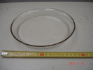 PLATEAU EN VERRE BLANC  DIAMETRE19cm A BORDS DORES  EN TRES  BON ETAT - Glass & Crystal