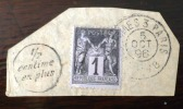 FRANCE:  TYPE Sage SURCHARGE 1/2 CENTIME EN PLUS Sur Fragment (N°83) Cachet 5 Oct 1896 - France