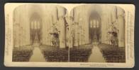 België / Belgique - Brussel / Bruxelles ± 1890 - 1905, Interieur Van De Kathedraal - Stereoscoop