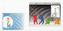 Norfolk Island Scott #918 FDC Souvenir Sheet $2 Games Emblem - 13th South Pacific Games - Ile Norfolk