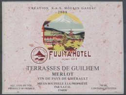 THEME DIVERS étiquette De Vin MERLOT - FUJITA HOTEL - MONTAGNE - Bergen