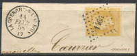 # France   14a, Used,  Tied To Piece, SCV$ 37.50   (fr014a-15, Michel 12 I - 1853-1860 Napoleon III