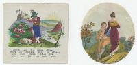 Glückwunschblätter (2 Stück) 1800-Zahl Koloriert Ca. 8 X 8 Cm - Alte Papiere