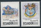 ECUADOR 1995 CHRISTMAS  SC# 1380-1381 SANTA, SLEGHT  AND RAINDEER, HORSE MNH SCARCE - Ecuador