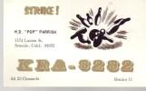 """QSL Avec Boules De Bowling De M.D. """"Pop"""" Parrish KRA 3282 (Seaside, California) (1968) - CB"""