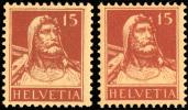 Suisse 0201* Buste De Tell Nuance -H- Zumstein 173 Cote = 24 FS