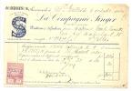 """SAINT - GILLES - Bruxelles - Facture: Succursale De """" La Compagnie Singer""""  1920- Machines à Coudre - Factures & Documents Commerciaux"""