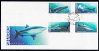 Norfolk Island Scott #809-812 FDC Set Of 4 Sharks - Whale, Tiger, Hammerhead, Bronze Whaler - Ile Norfolk