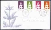 Norfolk Island Scott #827-830 FDC Set Of 4 Stylized Christmas Trees With Song Verses - Ile Norfolk