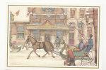 Traineau à Cheval Dans Un Village Enneigé. Signée Anton Pieck. Carte De Voeux. 11,5/16,5 Cm - Pieck, Anton