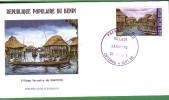 BENIN DAHOMEY 1988 FDC PREMIER JOUR TOURISME VILLAGE LACUSTRE PILOTIS DE GANVIE STILT VILLAGE VILLAGGIO SU PALAFITTE - Ferien & Tourismus