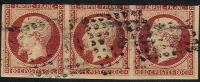 # France 19, Used,Strip Of 3, Sound, (fr019-3s, Michel 16 [16-CTT+ - 1853-1860 Napoleon III