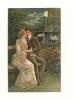 Carte En Relief (gaufrée) : Couple Au Clair De Lune - Couples