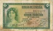 Billete España 5 Pesetas 1935. Republica - [ 2] 1931-1936 : Republic