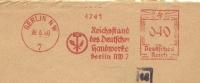 Germany Firm Cover Meter Ausfuhrstelle Des Deutschen Handwerks Berlin 28-6-1940  Freistempel - Fysica