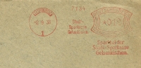 Germany Firm Cover Meter Stadt-Sparkasse Gelsenkirchen 2-9-1936 Freistempel - Marcofilie - EMA (Print Machine)
