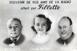 Souvenir De Vos Amis De La Radio  Offert Par Fillette.  Boulicot- Claude Bethy- Mylos. - Fotos