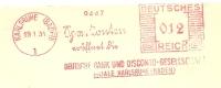 Germany Cover With Meter Deutsche Bank Und Disconto-Gesellschaft Filiale Karlsruhe 19-1-1935 Freistempel - Duitsland