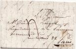 5098# LETTRE Obl BRIARE LOIRET 1845 T13 Pour PARIS Au Dos ROUTE * En Bleu - Marcophilie (Lettres)