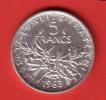 Semeuse  5 Francs Argent 1963 - France
