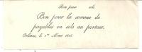 RARE .BON  PAYABLE EN SOL . ORLEANS 1825 . PARCHEMIN - Bonos