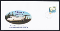 Norfolk Island 1st Commercial Flight Alliance Airlines To Australia Franked With Scott #744 45c Boat - Ile Norfolk
