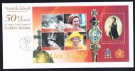 Norfolk Island Scott #762 FDC Souvenir Sheet Of 5 50th Anniversary Reign Of Queen Elizabeth II - Ile Norfolk
