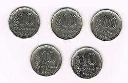 ARGENTINA  5 X 10  PESOS  1962/63/64/66/68 - Argentine