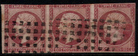 # France 20, Used, Strip Of 3, Sound (fr020-14, Michel 16 [16-AGG - 1853-1860 Napoleon III