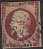 # France   21, Michael 17b Dunkelkarmne Variety, Used, RARE    (fr021-13,  Michel 17b ,  [16-CBRT - 1853-1860 Napoleon III