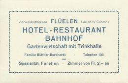 AK Flüelen UR Hotel Restaurant Bahnhof Werbe-AK ~1930 #04 - UR Uri